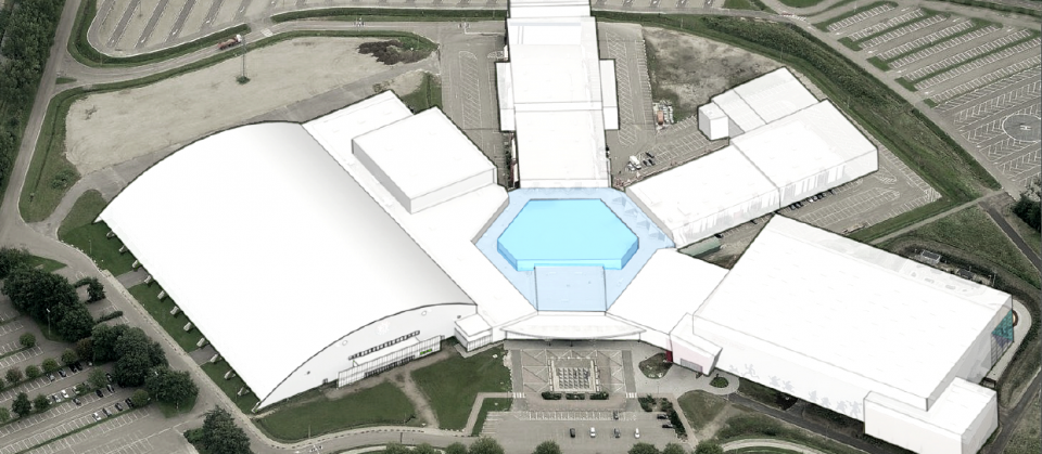 Vogelperspectief van de Grenslandhallen site na de bouwwerken