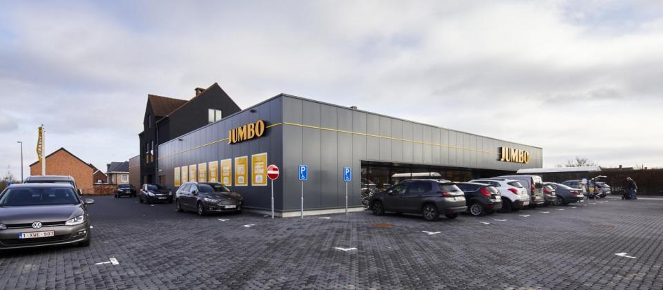 Jumbo, Sint-Lambrechts-Herk, Sint-Truidersteenweg, Renovatie, Uitbreiding, supermarkt, Mathieu Gijbels